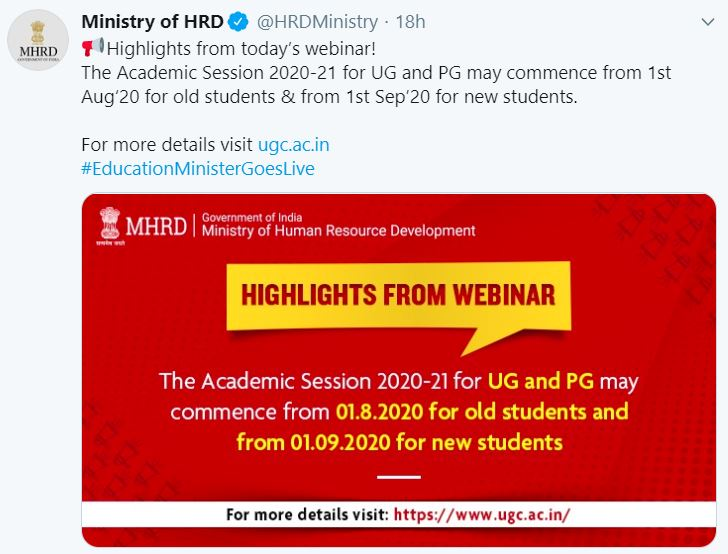 UG and PG Courses for New Students (1st Year) May Commence from 1st September 2020