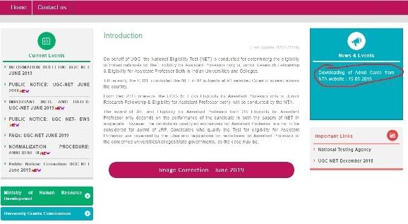 UGC NEt 2019 Admit Card