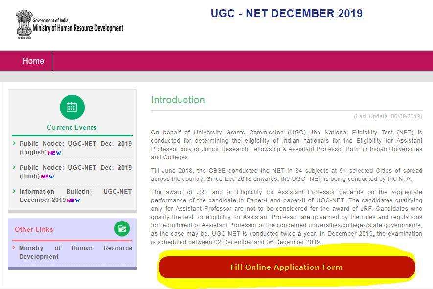 NTA UGC NET December 2019 Application Process begins @ugcnet