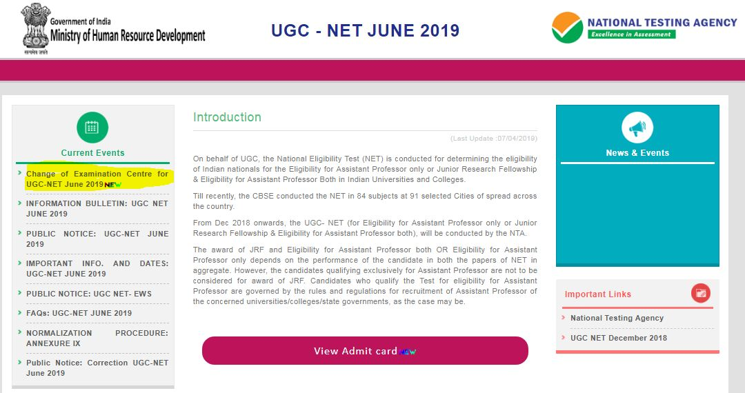 NTA Changes Exam Centre to Srinagar for UGC NET 2019 Exam
