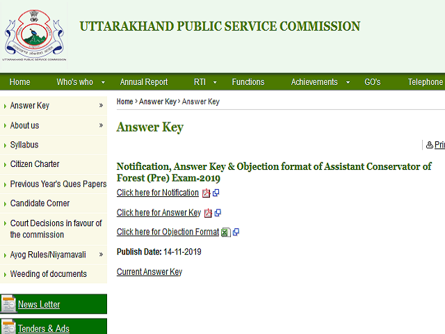 UKPSC ACF Exam Answer Key