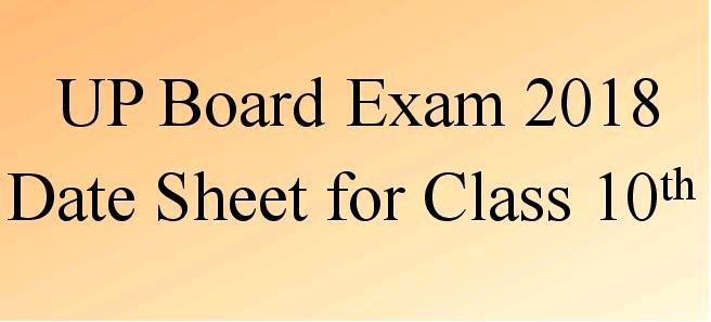 UP Board Class 10th Exam Date Sheet 2018