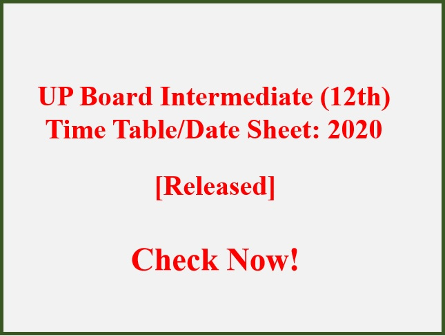 UP Board Exam Date Sheet 2020