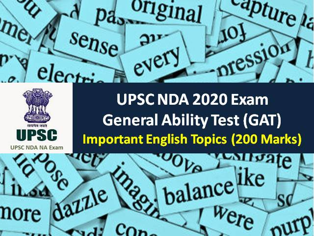 UPSC NDA 2020 General Ability Test (GAT): Check Important English syllabus (200 Marks) for Written NDA Exam