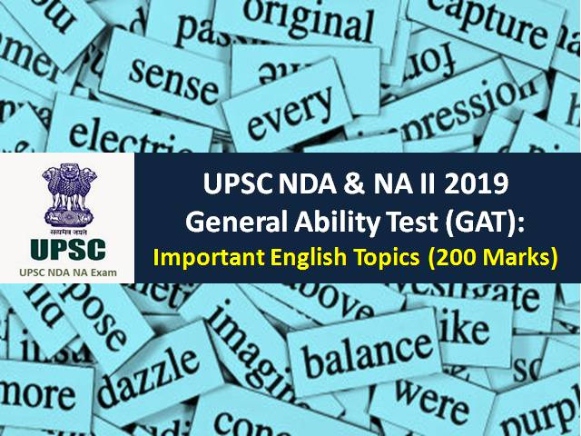 UPSC NDA & NA (2) 2019 General Ability Test (GAT): Check Important English Topics (200 Marks)