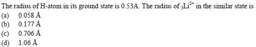 UPSEE Atomic Structure Question 3