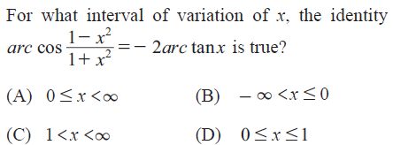 UPSEE Inverse Trigonometric Functions Question 5