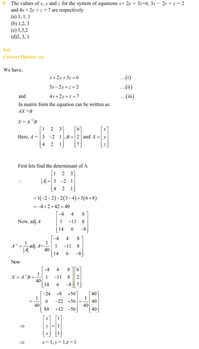 UPSEE Matrices and determinants previous year questions(1)