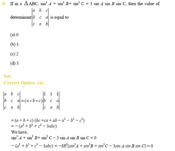 UPSEE Matrices and determinants previous year questions 2