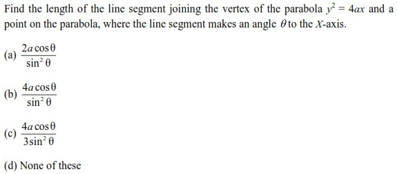 UPSEE Parabola Question 3