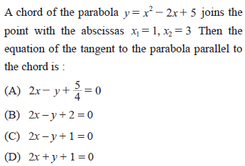 UPSEE Parabola Question 4