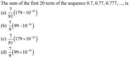 UPSEE Sequence and Series question 2
