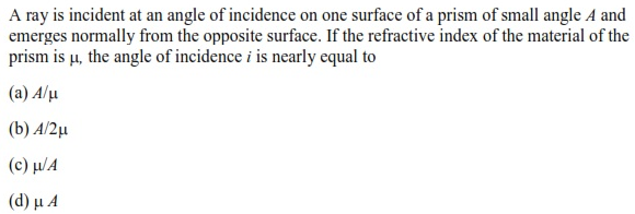 UPSEE Ray Optics question 3