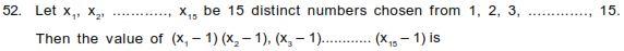 WBJEE 2015, Mathematics