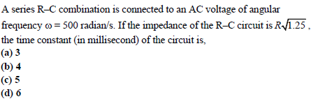 WBJEE Alternating Current Question 1