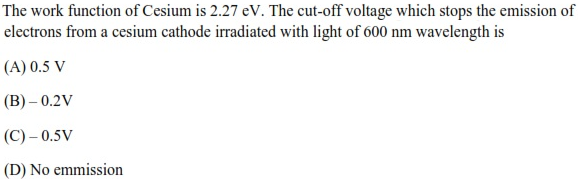 WBJEE Dual Nature of Radiation Q2