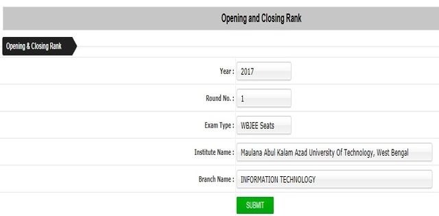 WBJEE 2017 Opening and Closing Rank