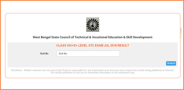 WBSCTE Class VIII STC Result 2018 Declared; Check At Wbresults.nic.in
