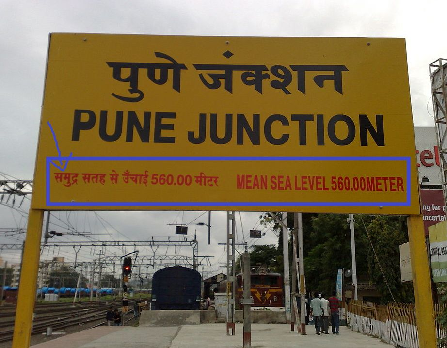 What is Mean Sea Level written on Railway Station Board