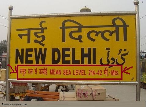 Why Mean Sea Level is mentioned on Indian Railway Station board?
