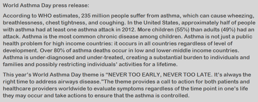 World Asthma Day press release