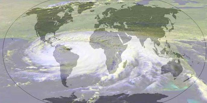 World Map and Hurricane