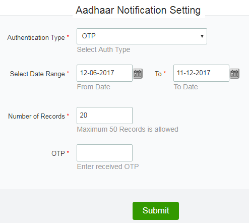 aadhar notification setting duration