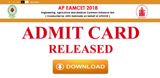 AP EAMCET 2018 Admit Cards Released, Download Now @ sche.ap.gov.in