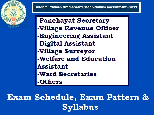 AP Grama Sachivalayam 2019: (Detailed) Exam Schedule