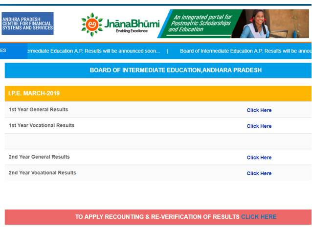 How to check AP, Andhra Pradesh BIEAP Intermediate Result 2019
