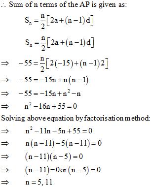 Arithmetic Progressions Class 10