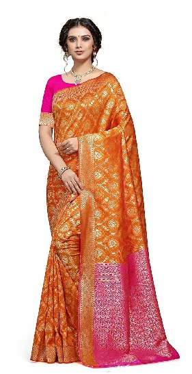 Sareeka Saree Womans Banarasi Silk Saree with Blouse