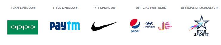 bcci sponsors name