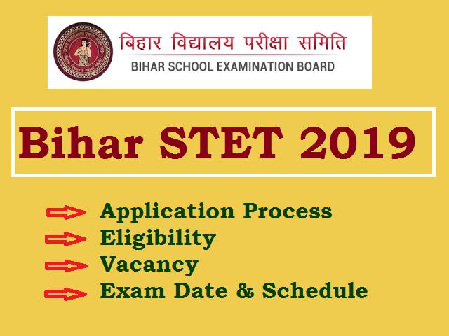 Bihar STET 2019 Notification @bsebstet2019 in: Apply Now