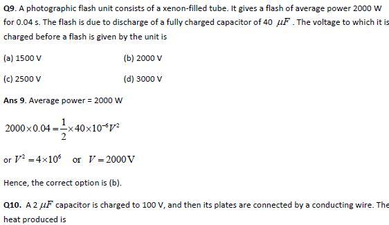 practice questions of capacitors