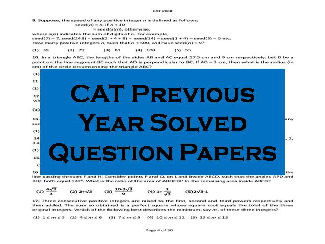 CAT PREVIOUS YEAR PAPERS