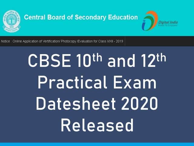 CBSE Practical Exam Datesheet 2020 Released