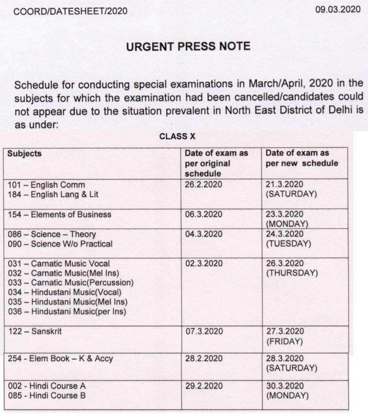 New CBSE 10th Time Table 2020: For North East Delhi Students