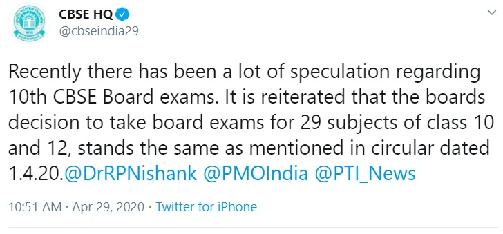 CBSE Official Update Via Twitter | CBSE HQ (@cbseindia29): 29 April