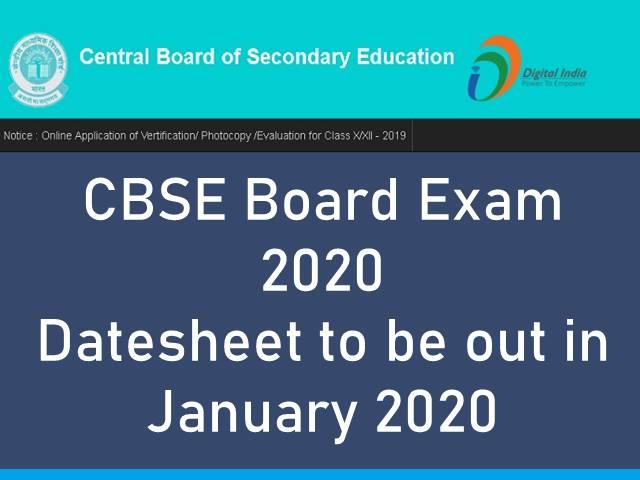 CBSE Board Exam 2020 Datesheet