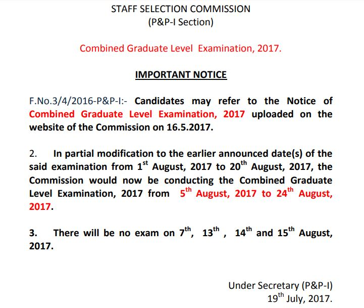 SSC CGL 2017 Exam Dates Changed
