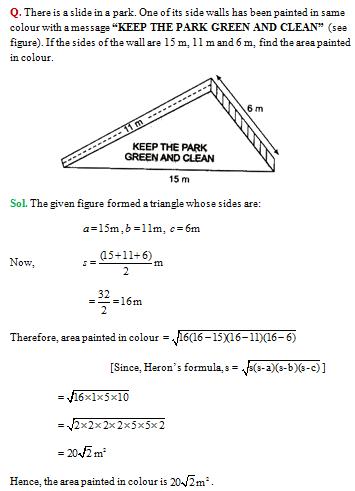 NCERT Solutions for CBSE Class 9 Math Heron's Formula