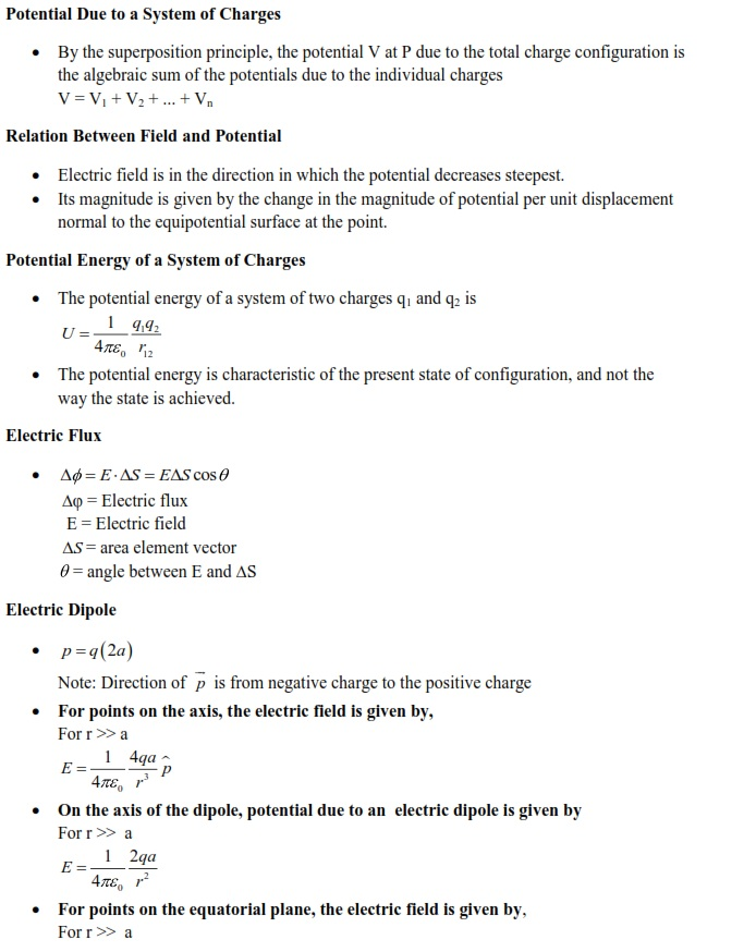 Electrostatics and Electric Current Formulas for Quick