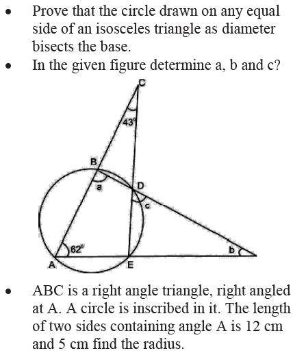 CBSE Important questions for Class 9 Maths chapter 10