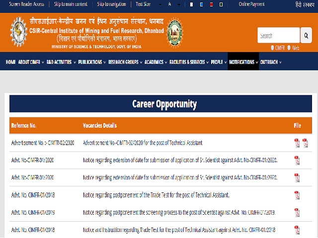 CIMFR Technical Assistant Recruitment 2020