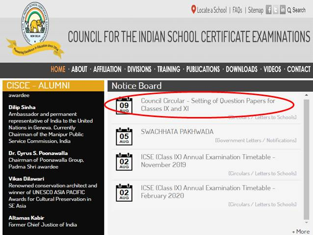 CISCE issues circular clarifying Class IX and XI Feb-March 2020