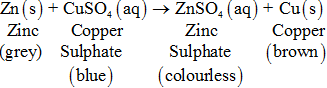 reaction of zinc with copper sulphate