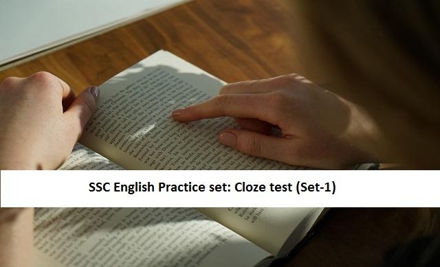 SSC English free practice set: Cloze test (Set-1)
