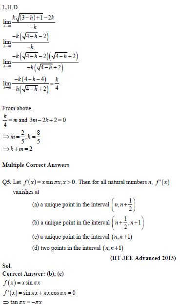 Continuity and differentiability practice question