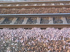 crushed stones on railway track